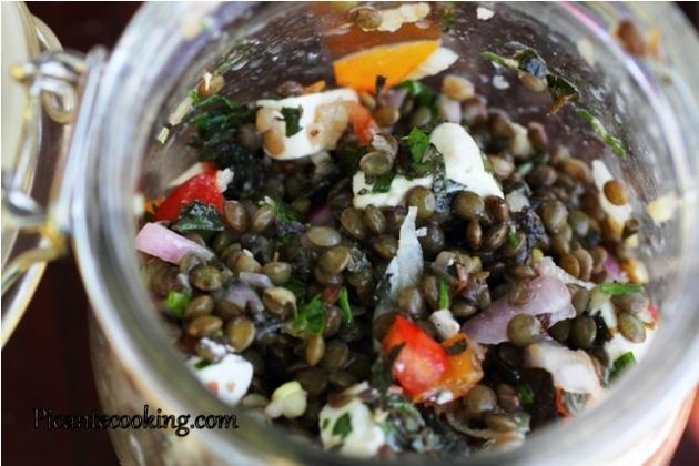 Lentil salad with feta cheese and herbs